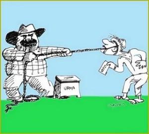 Charge mostrando o coronel (representado por um fazendeiro) trazendo o eleitor como um cavalo até a urna para votar no candidato dele.